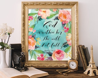 Watercolor Bible Verse Printable, wall art decor poster, Psalm 46:5 printable, God is within her,  Scripture art, Inspirational art print