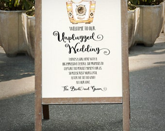 Vintage camera Unplugged Wedding Sign 5x7 8x10, 16x20, 18x24 No cameras Poster Wedding Sign Outdoor Wedding Party Printable digital files