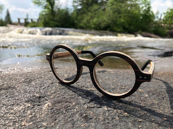 39b3805274 Vintage Round Wood Glasses Prescription-Ready Handmade Real