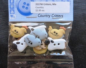 2117W Country Critters Mix muliticolor Buttons Dress It Up