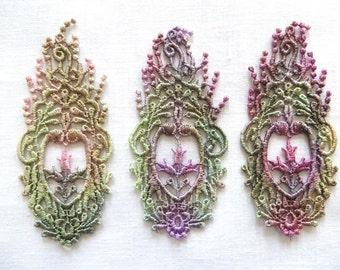 Hand dyed Floral Spray Oblong Applique Venise Lace 6017D