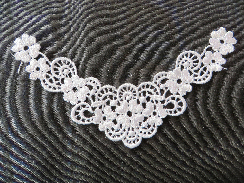 Floral corner white applique venise lace 6050 etsy