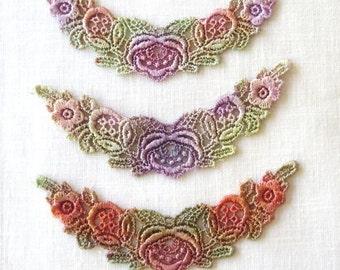 Hand dyed Rose Floral Spray Applique Venise Lace 6019D