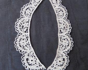 Daisy collar (pair), vintage Ivory Applique Venise Lace 6055