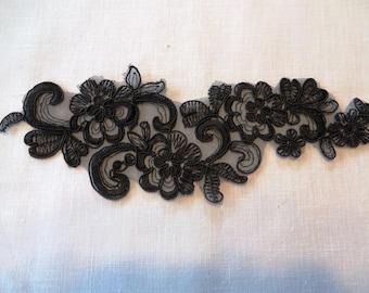 Floral spray black Applique Venise Lace 6053
