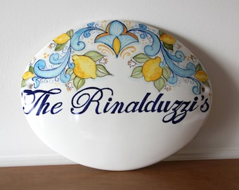 Tile with personalized names and lemons blue in Italian ceramic Amalfi coast style Small plaque to hang on the wall gift for home.