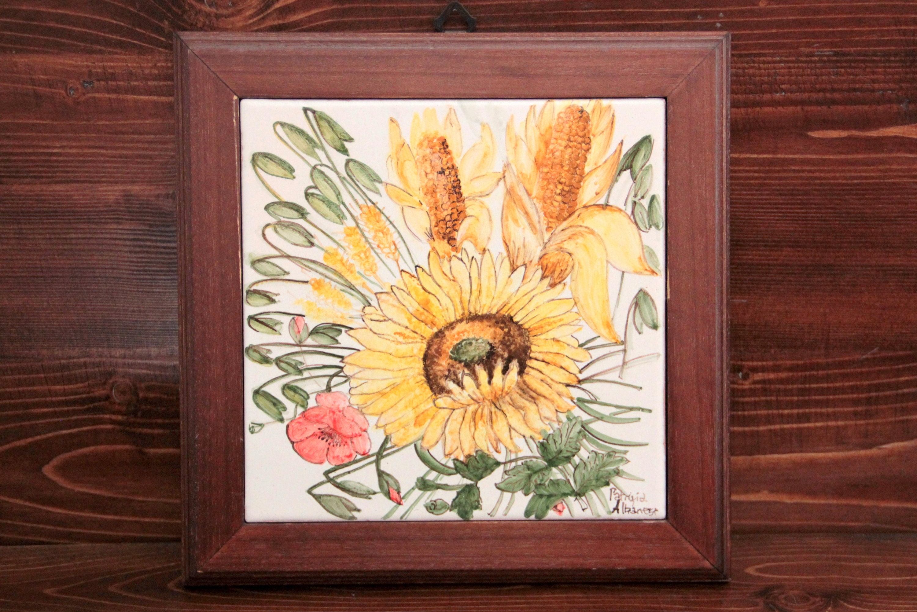 Sunflowers tile artistic ceramics Italy majolica sunflowers picture ...