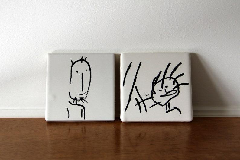 Piastrelle decorative con disegni di bambini disegno di etsy