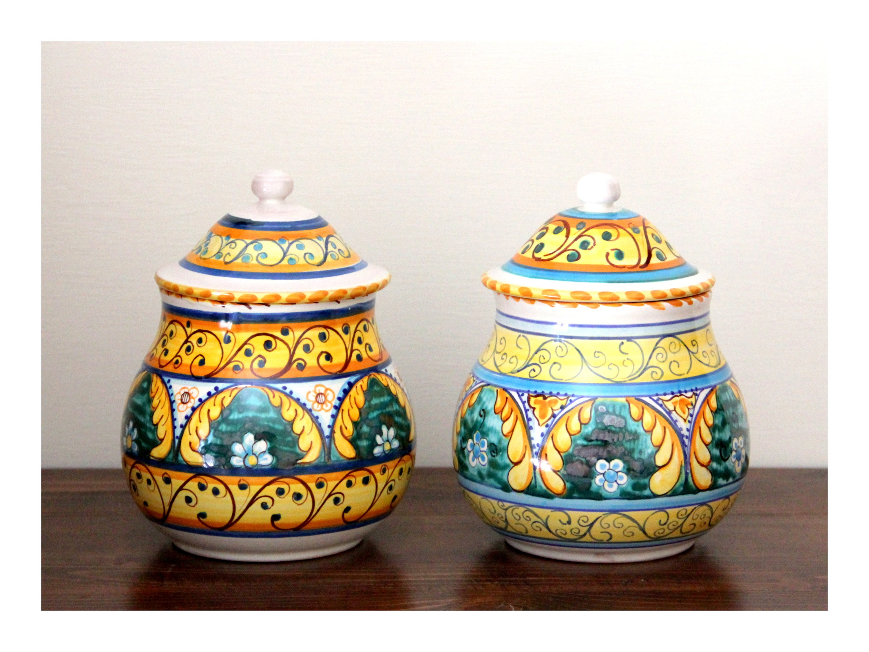 Jars, yellow and green kitchen canisters in Italian artistic ...