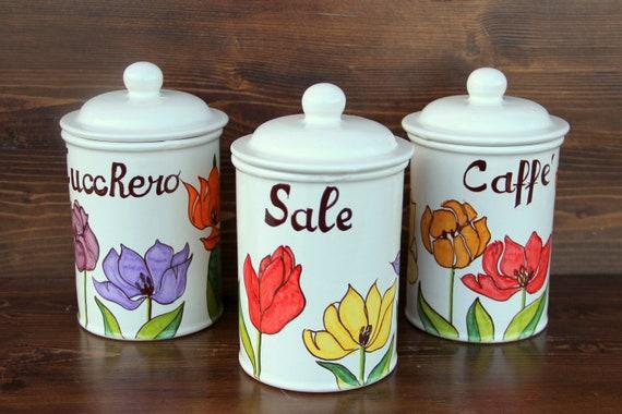 Barattoli sale zucchero caffè di ceramica italiana. Set   Etsy