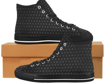 76815b289a06 Sacred Geometry Flower of Life Psychedelic Rave Festival Techno Canvas High  Top Men s Shoes