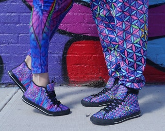 f0e83d696d92 Sacred Geometry Third Eye Flower of Life Psychedelic Rave Festival Canvas  High Top Men s Shoes