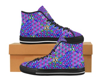 09ae61ad176e Sacred Geometry Third Eye Flower of Life Psychedelic Rave Festival Canvas  High Top Women s Shoes