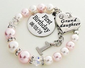 First Birthday Gift For Granddaughter Personalized Bracelet 1st Babys From Grandparents