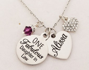 daughter in law gift necklace one fabulous daughter in law custom engraved name wedding jewelry christmas gift from mother in law sons wife