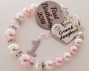 First Birthday 2018 Swarovski Granddaughter Bracelet Babys Gift 1st For