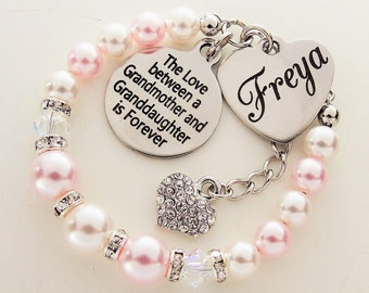 Granddaughter Gift For Christmas From Grandmother To Birthday Personalized Name Bracelet Jewelry