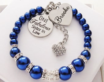 Sister In Law Gift For Christmas Personalized Name Bracelet Jewellery Birthday Present From