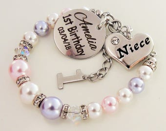 Niece 1st Birthday Custom Name Bracelet Swarovski Pearl First Gift For From Aunt Aunty Auntie