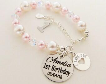First Birthday Gift Swarovski Sterling Silver Customized Babys For 1st Goddaughter