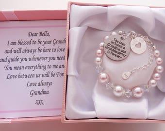 Grandma And Granddaughter Sterling Silver Swarovski Bracelet Gift For Birthday Christmas