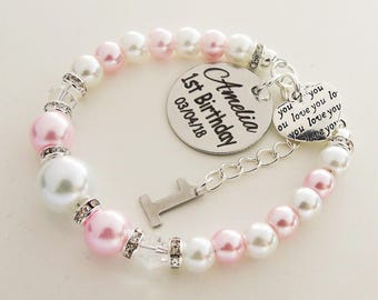 First Birthday Customized Name Bracelet Babys Gift For 1st Daughter Goddaughter Granddaughter Niece