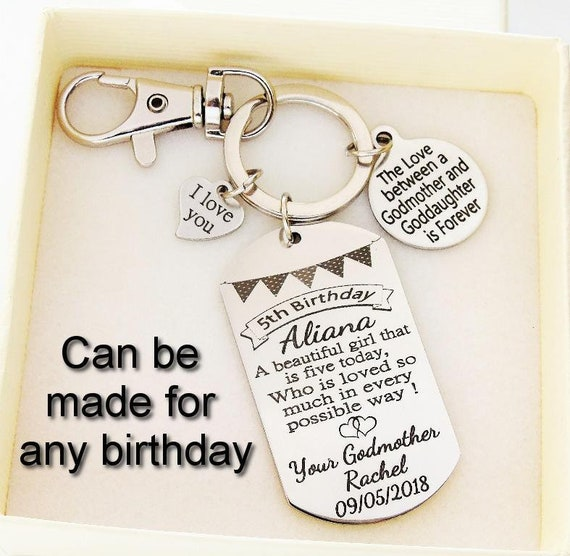 Goddaughter Gift Personalized Birthday Key Chain Any