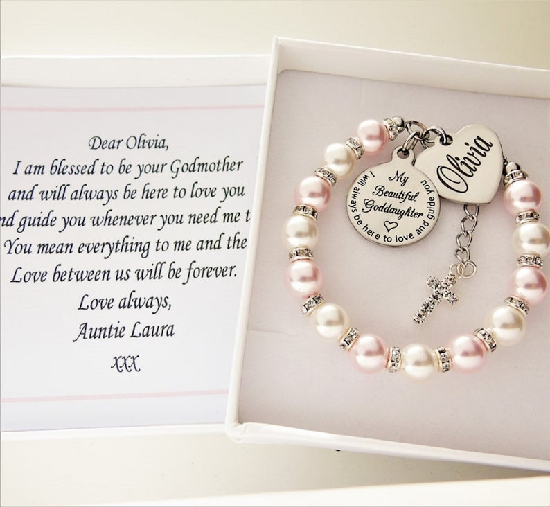 Swarovski pearls Rosaline pink & White Goddaughter/Godmother image 0