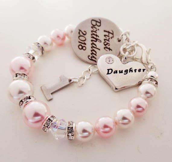 First Birthday 2018 Swarovski Daughter Bracelet Babys