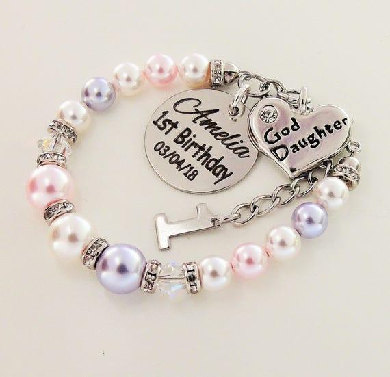 1st Birthday Custom Name Goddaughter Bracelet Swarovski Pearl