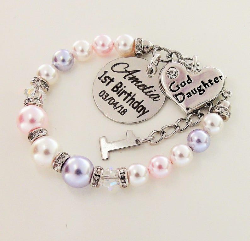 1st Birthday Custom Name Goddaughter Bracelet Swarovski Pearl First Gift From Godmother