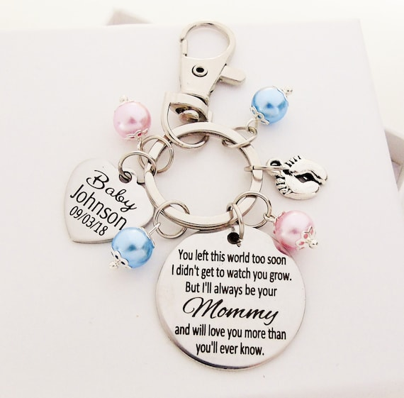 Memorial Keychain Custom Baby Memorial Charm Keychain Infant Loss Gift Miscarriage Stillborn