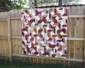 """Raspberry Truffle Quilt, throw size (56"""" X 56"""")"""