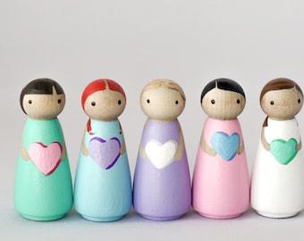 Conversation Hearts Peg Dolls // Valentine's Peg Doll // Love Dolls