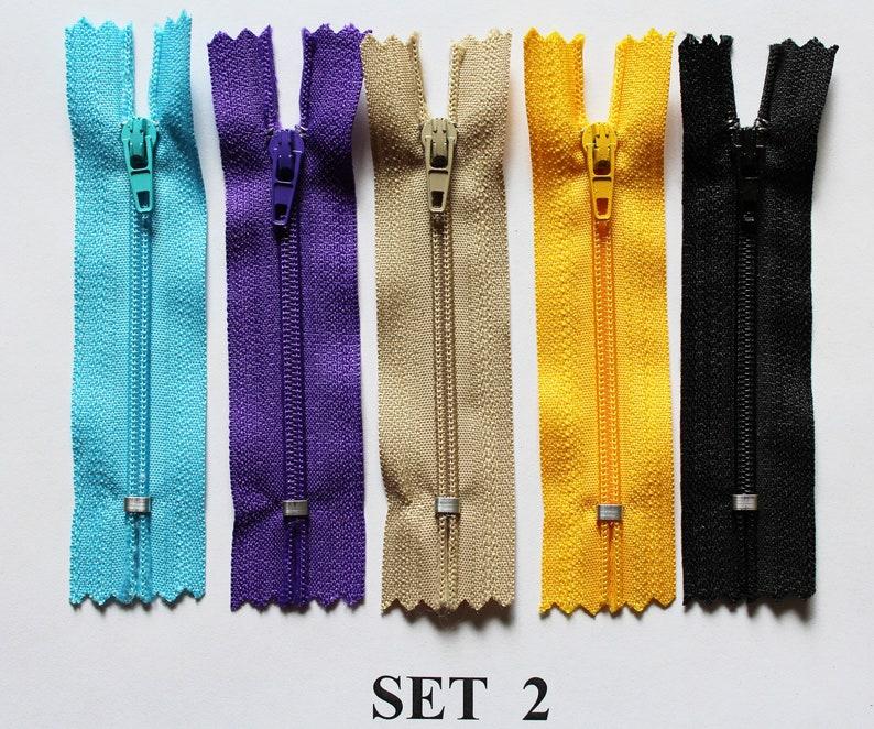 5 colors set. Small 7.5 cm zipper for doll clothes