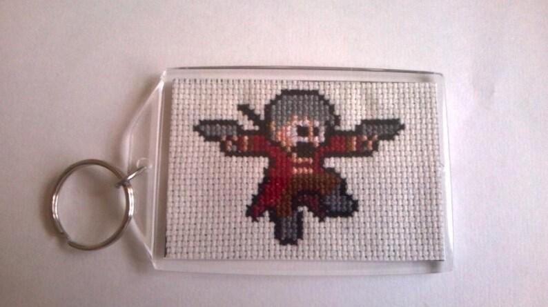 inspired Large Handmade Cross Stitch Keyring Dante Devil May Cry