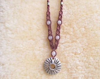 Needle-woven Osiris necklace with Czech glass beads and steel chain