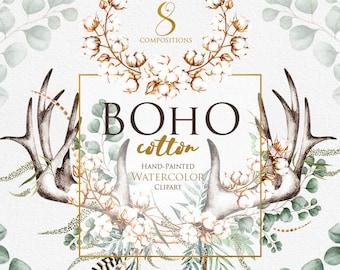 Watercolor Cotton Clipart, Boho Feathers, Horns, Antlers, Deer, Floral cotton balls, Eucalyptus leaves, Wedding Invitation, Bridal Shower