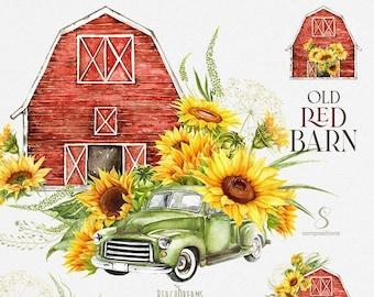 Barn Watercolor Clipart, Red Barn House, Farm, Retro car,  Green Truck, Vintage Pickup, Sunflowers, Old hangar, Farmhouse, Country clip art