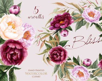Peonies Flowers Watercolor, Floral elements, Burgundy, Violet, Peach, Botanical, Boho Wreaths, Hand Painted Wedding Clipart, Digital png