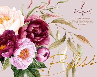 Peonies Flowers Watercolor, Floral elements, Burgundy, Violet, Peach, Botanical, Boho Bouquets, Hand Painted Wedding Clipart, Digital  png