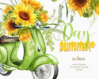 Watercolor Retro Green Moped, Floral Bouquet Sunflowers, Wedding invitation, Yellow flowers, Summer Herb, Bohemian Boho, greeting card, DIY