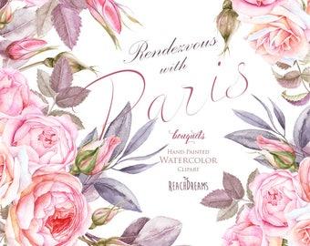 Paris Watercolor Clipart, France, Eiffel tower, France, Roses flowers, floral bouquets, lantern, retro car, vintage, romantic, french style