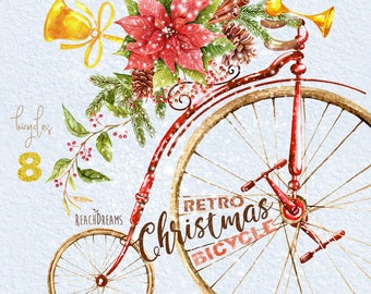 Watercolor Christmas Retro Bicycle, Bike, poinsettia, pine tree, gifts, snow, hand painted, New Year, XMAS decoration, Merry, Greeting cards