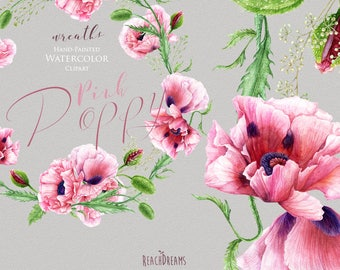 Watercolor Pink Poppy, Handpainted wreaths, poppies flowers, wedding invitations, boho, floral frame clipart, greeting card, diy clip art