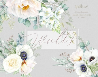 Floral clipart, Eucalyptus, Peony, Anemone, White flowers, Greenery, Watercolor Bouquets, Bohemian Boho, Hand Painted, Wedding invitations