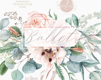 Floral clipart, Eucalyptus, Poppy, Nude flowers, Greenery, Light Pink, Watercolor Bouquets, Bohemian Boho, Hand Painted, Wedding invitations