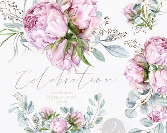 Floral clipart, Eucalyptus, Peonies, Peony buds, Greenery, Light Pink, Watercolor Bouquets, Bohemian Boho, Hand Painted, Wedding invitations