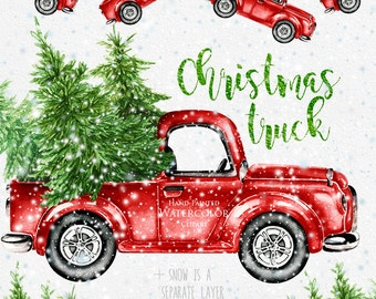 watercolor christmas truck vintage red pickup pine tree retro car hand painted clipart snow santa new year decoration greeting card