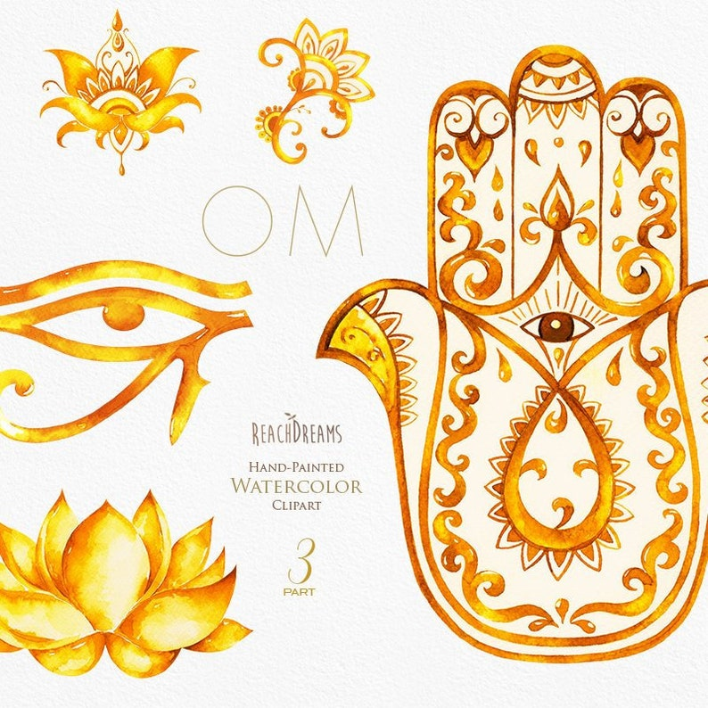 Watercolor Clipart Hamsa All Seeing Eye Lotus India Hamsa Etsy